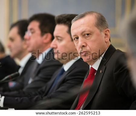 KIEV, UKRAINE - Mar. 20, 2015: Turkish President Recep Tayyip Erdogan and President of Ukraine Petro Poroshenko during a meeting in Kiev - stock photo