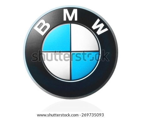 KIEV, UKRAINE - MARCH 21, 2015: BMW logo printed on paper and placed on white background. BMW is a German automobile manufacturer. - stock photo