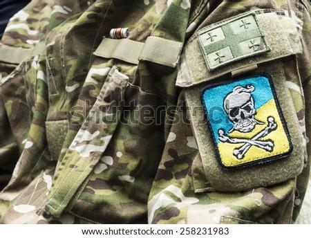 KIEV, UKRAINE - March 4, 2015: Chevron Georgian volunteers fighting the pro-Russian separatists in the National Guard of Ukraine - stock photo