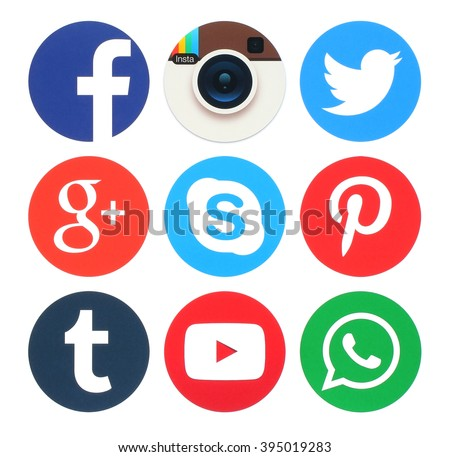 Kiev, Ukraine - March 23, 2016: Collection of popular round social media logos printed on paper:Facebook, Twitter, Google Plus, App Insta Instagram, Skype, Pinterest, Tumblr, Youtube and WhatsApp - stock photo