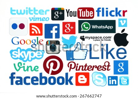 KIEV, UKRAINE - MARCH 21, 2015:Collection of popular social media logos printed on paper:Facebook, Twitter, Google Plus, Instagram, Skype, WhatsApp, Pinterest, Blogger and others on white background - stock photo