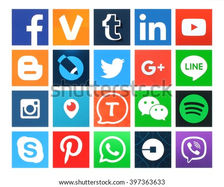 Kiev, Ukraine - March 24, 2016: Collection of popular 20 square social media icons printed on paper:Facebook, Twitter, Google Plus, Instagram, MySpace, LinkedIn, Pinterest, Tumblr and others - stock photo