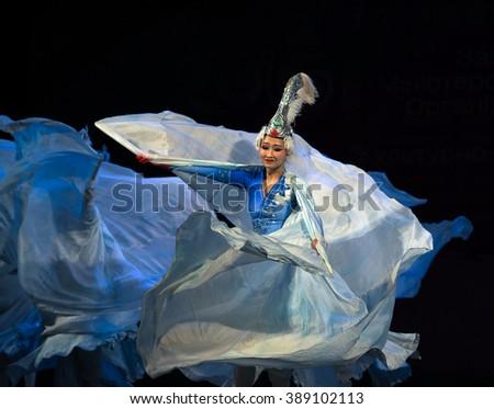KIEV, UKRAINE - March 1, 2016: Dance of Swans. -- In National Opera of Ukraine were artists Zheng Chou Opera and Ballet Theatre  - stock photo
