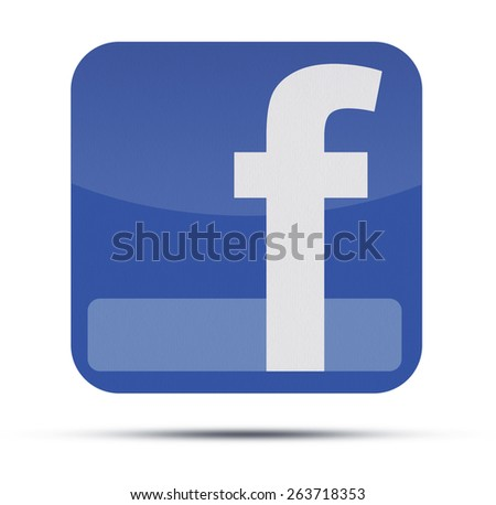 KIEV, UKRAINE - MARCH 15, 2015: Facebook like logo for e-business, web sites, mobile applications, banners, printed on paper and placed on white background. Social network facebook sign on pc sign. - stock photo