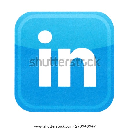 KIEV, UKRAINE - MARCH 31, 2015: Linkedin logo printed on paper and placed on white background. Linkedin is a business-oriented social networking service. - stock photo