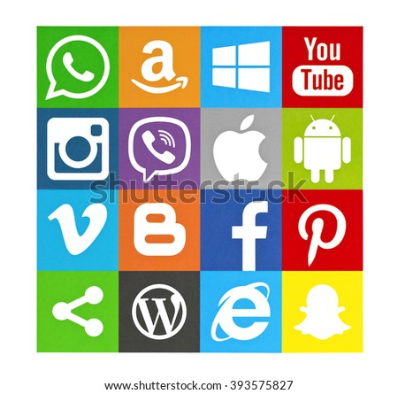 Kiev, Ukraine - March 16, 2016: Set of most popular social media icons: Twitter, Pinterest, Instagram, Facebook, Blogger, WhatsApp,Viber, Vimeo, Android, Snapchat,YouTube  and others printed on paper. - stock photo