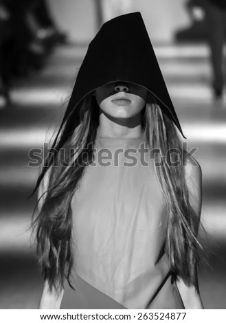 KIEV, UKRAINE - MARCH 18, 2015: The model shows a new collection of Bevza clothing brand  the 36th Ukrainian Fashion Week. -- Svetlana Bevza presented a new collection - stock photo