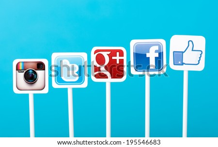KIEV, UKRAINE - MAY 25, 2014: A collection of well-known social media brands printed on paper and placed on plastic signs. Include Facebook, Twitter, Google Plus and Instagram logos. - stock photo