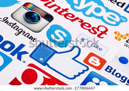 KIEV, UKRAINE - MAY 13, 2015: A logotype collection of  social media brand's  printed on paper.  Facebook,  Google Plus, Instagram, Skype ,Pinterest, blogger  and other. - stock photo