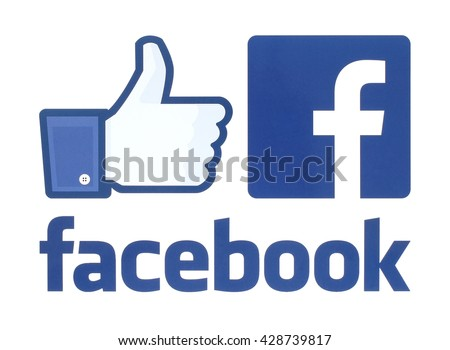 Kiev, Ukraine - May 30, 2016: Collection of facebook logos printed on white paper. Facebook is a well-known social networking service. - stock photo