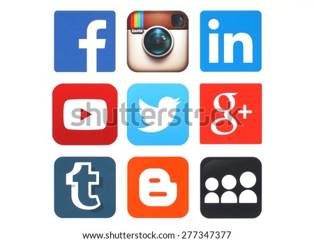 KIEV, UKRAINE - MAY 12, 2015:Collection of popular social media logos printed on paper:Facebook, Twitter, Google Plus, Instagram, MySpace, LinkedIn, YouTube, Tumblr and Blogger - stock photo