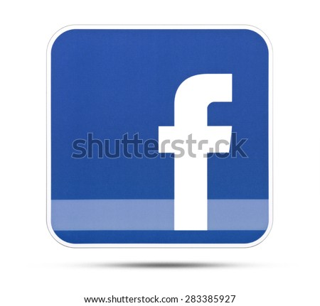 KIEV, UKRAINE - MAY 28, 2015: Facebook like logo for e-business, web sites, mobile applications, banners, printed on paper and placed on white background. Social network facebook sign on pc sign. - stock photo