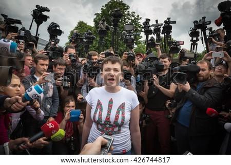 KIEV, UKRAINE - May 25, 2016: First communication with journalists of Ukrainian pilot, Hero of Ukraine Nadiya Savchenko after her liberation from Russian prison and return to Ukraine - stock photo