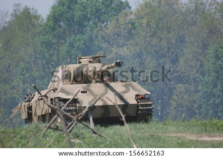 KIEV, UKRAINE - MAY 11: German tank (replica), Red Star history club, during historical reenactment of WWII on May 11, 2013 in Kiev, Ukraine  - stock photo