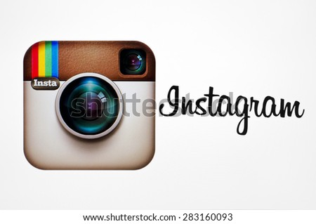 KIEV, UKRAINE - MAY 26, 2015::Instagram logotype camera icon on pc screen. Instagram - free application for sharing photos and videos with the elements of a social network. - stock photo