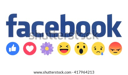 Kiev, Ukraine - May 09, 2016: New Facebook like button Empathetic Emoji Reactions with flower printed on white paper. Facebook is a well-known social networking service. - stock photo