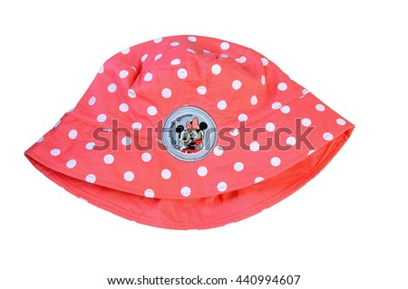 """KIEV, UKRAINE - May 10, 2012:Pink Panama hat  with a picture of cartoon characters from """"Mickey Mouse"""" Walter Elias Disney animation production illustrative wording. - stock photo"""