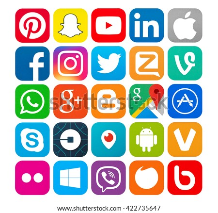Kiev, Ukraine - May 18, 2016: Set of most popular social media icons: Twitter,linkedin,Youtube,Pinterest,Instagram, Facebook,Skype,Google Plus,Blogger, Snapchat,Periscope and others  printed on paper. - stock photo