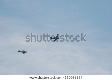 KIEV,UKRAINE,MAY 11 : Soviet and German plane (replica), Red Star history club, during historical reenactment of WWII on May 11, 2013 in Kiev, Ukraine - stock photo