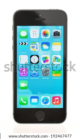 KIEV, UKRAINE - MAY 11, 2014: Studio shot of brand new black Apple iPhone 5S, the most advanced smartphone in part of the iPhone line. Developed by Apple inc. and was released on September 20, 2013. - stock photo