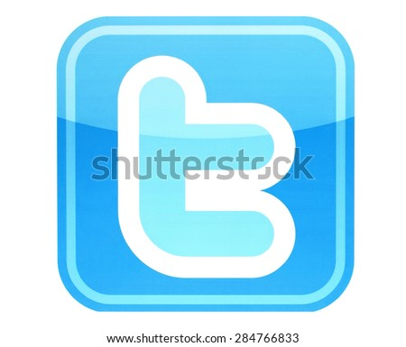 KIEV, UKRAINE - MAY 26, 2015:Twitter logotype printed on paper. Twitter is an online social networking service that enables users to send and read short messages.  - stock photo