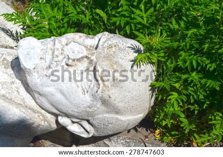 KIEV, UKRAINE - MAY 17, 2015: Vandalized monument of Lenin.May 17, 2015 Kiev, Ukraine  - stock photo