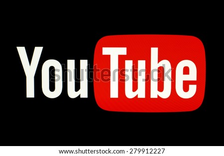 KIEV, UKRAINE - MAY 21, 2015: YouTube logotype  on pc screen. YouTube is the popular online video-sharing website. Users can add, view, comment and share with your friends by various videos. - stock photo