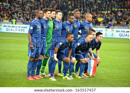 KIEV, UKRAINE - NOV 15: Group photo of the French national team before the play-off match for the 2014 World Cup between Ukraine vs France, 15 November 2013, NSC Olympic Stadium, Kiev, Ukraine  - stock photo