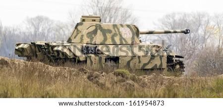 "Kiev, Ukraine - November 3: Jagdpanzer 38(t) ""Hetzer"" tank destroyer is displayed on the Field of Battle military history festival on November 3 , 2013 in Kiev, Ukraine - stock photo"