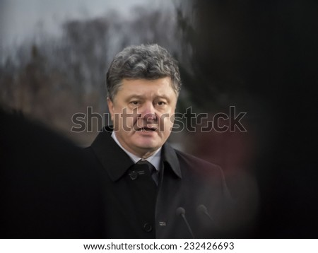 KIEV, UKRAINE - November 22, 2014: President of Ukraine etro Poroshenko  - stock photo