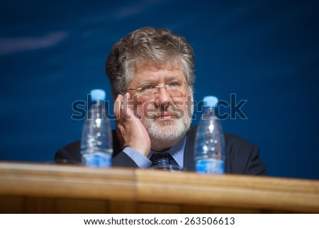 KIEV, UKRAINE - OCTOBER, 4, 2011: Ihor Kolomoisky during the 6th Congress of the United Jewish Community of Ukraine - stock photo