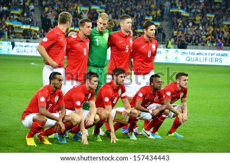 KIEV, UKRAINE - SEP 10: Group photo football team of England during the qualifying match 2014 World Cup between Ukraine vs England, 10 September 2013, NSC Olympic Stadium, Kiev, Ukraine - stock photo
