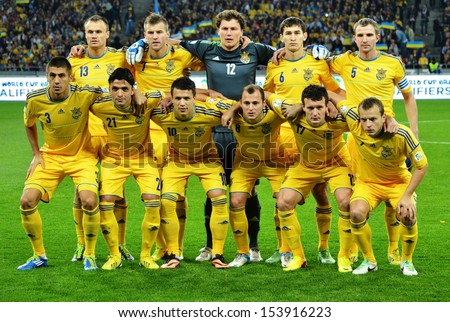 KIEV, UKRAINE - SEP 10: Group photo of the national team of Ukraine before the qualifying match 2014 World Cup between Ukraine vs England, 10 September 2013, NSC Olympic Stadium, Kiev, Ukraine - stock photo