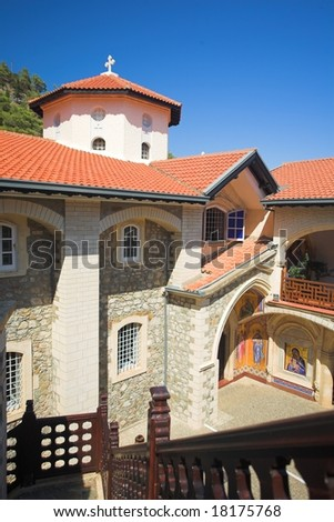 Kikkos Monastery in moutains of troodos, Cyprus - stock photo