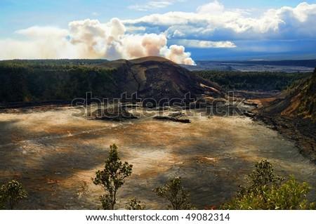Kilaua volcano on the big island of Hawaii - stock photo