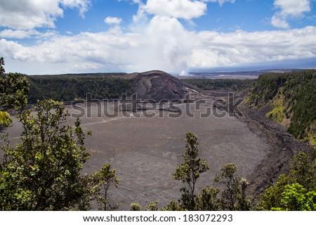 Kilauea Iki Crater in Hawaii Volcanoes National Park on the Big Island of Hawaii - stock photo