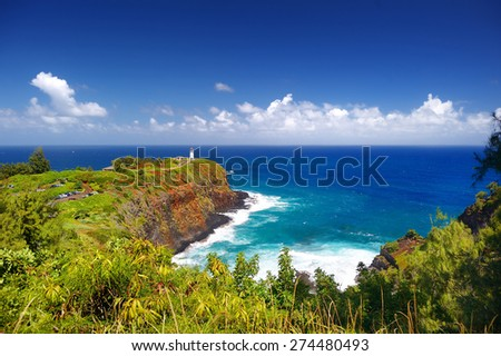 Kilauea lighthouse bay on a sunny day in Kauai, Hawaii - stock photo