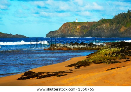 Kilauea lighthouse on Kauai Hawaii. More with keyword Series001I. - stock photo
