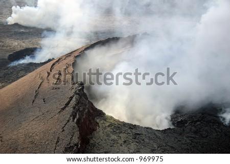 Kilauea Volcano in Hawaii Volcanoes National Park on the Big Island. - stock photo