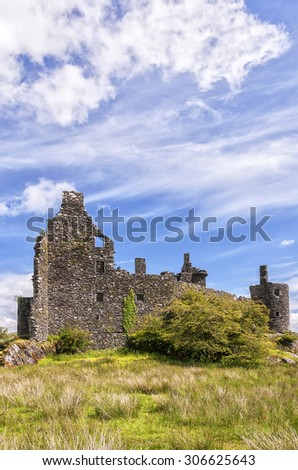 Kilchurn Castle, a ruined 15th century structure on the banks of Loch Awe, in Argyll and Bute, Scotland on July 08, 2013. - stock photo