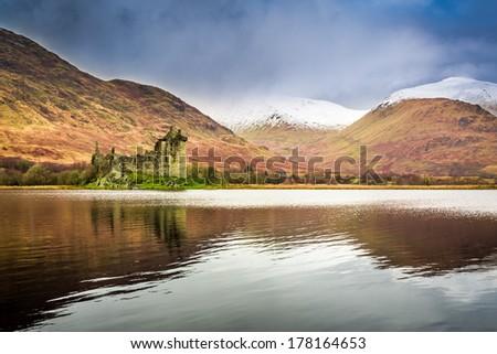 Kilchurn Castle in Winter, Scotland - stock photo
