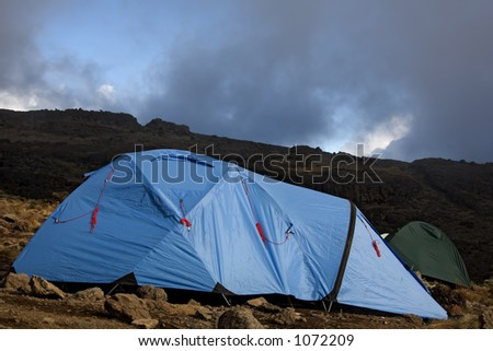 kilimanjaro 017 karango camp tent. - stock photo
