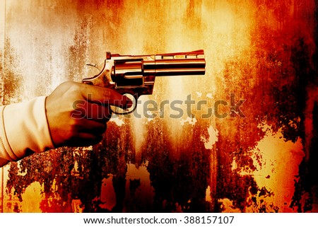 Killer with gun,Color dramatic look - stock photo