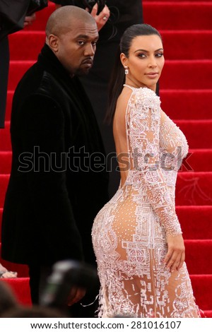 Kim Kardashian and Kanye West attend the Costume Institute benefit gala at the Metropolitan Museum of Art on May 4, 2015 in New York.  - stock photo