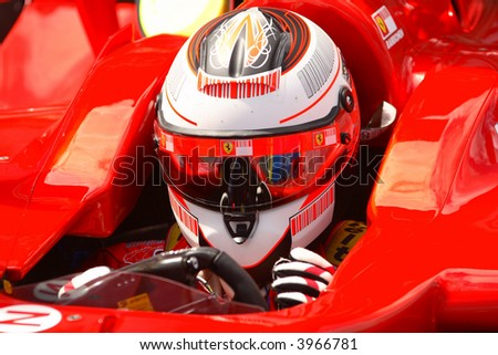 Kimi Raikkonen, Ferrari Formula One 2007 driving - stock photo
