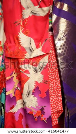 Kimono fabric detail - stock photo