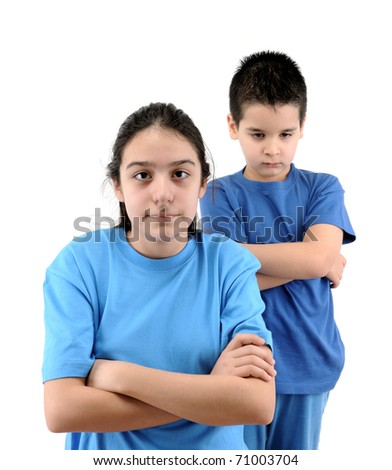 Kind and teen girl back to back in quarrel isolated on white. - stock photo