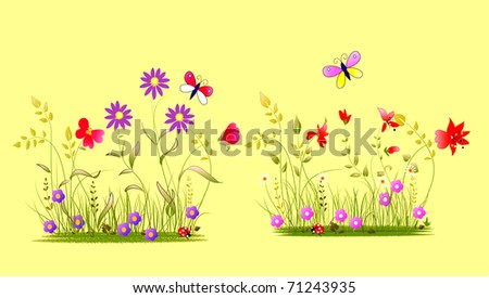 kind flowers illustration with butterfly and ladybug - stock photo