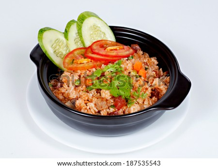 Kind of fried rice so call COM CHIEN DUONG CHAU, typical Vietnamese cuisine mad by mixed of fried sausage, egg, dried shrimp, pork bologna - stock photo
