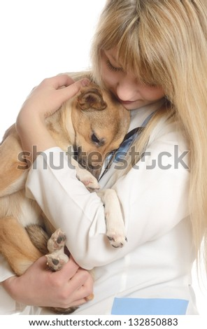 kind woman veterinarian, hugging a puppy - stock photo